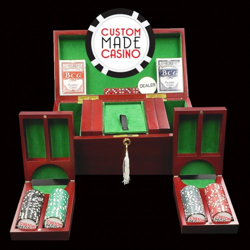 200 Luxury Custom Poker Chip Set - Cherry Wood Case