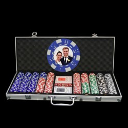 500 Photo Poker Chip Set - Custom Overlay