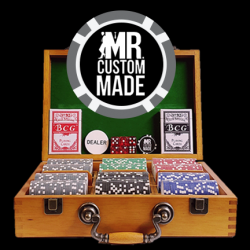 300 Luxury Custom Poker Chip Set - Oak Wood Case