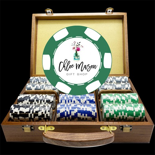 6 Stripe Walnut Luxury Custom Poker Chip Set - Walnut Wood Case
